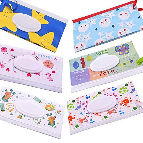 custodia per salviette, 6 pcs wet wipes case per Bambino all'Aperto dispenser Salviette Umidificate Box Contenitore Riutilizzabile