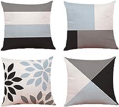 Vosarea 4pc Linen Cotton Pillowslip Household Pillowcase Rustic Delicate Unique Throw Pillow Cover Square Pillowcae for Of...
