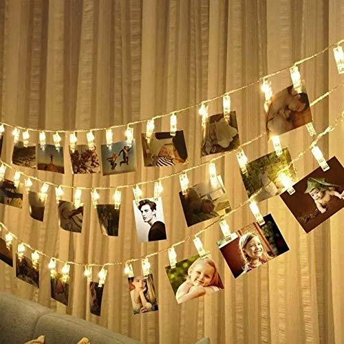 Portaretratos 30 Pinzas Luces Led Calida Decorativas Fotos 2.90 Metros Clip Cadena de Luces LED Calida Fotoclips Guirnalda Luminosa LED...