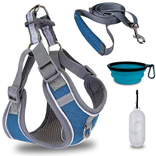 Earth Friendly Dog Vest Harness Leash Set No Pull Step-in Harness Adjustable Padded Mesh Puppy Dog Harness with Garbage Dispenser Bowl Easy Put On & Take Off Vest Harness for Small Medium Breed Pets