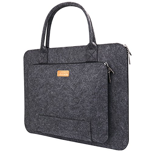 Ropch 15 15.6' Felt Laptop Sleeve with Handle Portable Carrying Case Bag Pouch for Asus / Acer / Dell / HP / Lenovo / Toshiba - Dark Grey