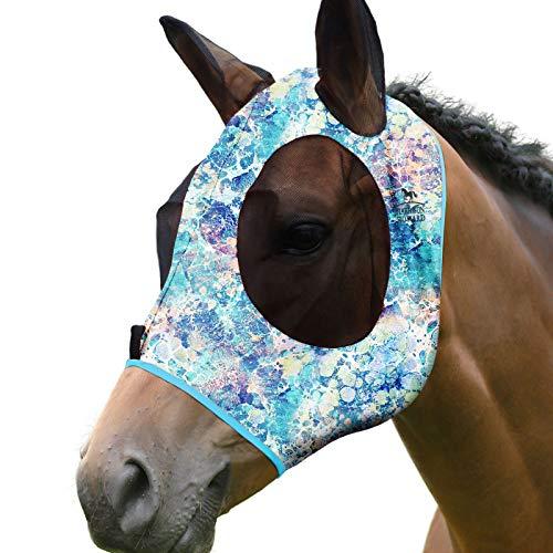 Harrison Howard Elastizität Pferd Fliegenmaske Hervorragender Komfort mit UV-Schutz Standard Pferd Fliegenmaske für Pferd-Pastell Mix (M)