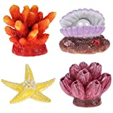 UEETEK 4 Pack Artificial Coral Plant Seastar Shell Decor Aquarium Reef Ornament Resin Crafts Decoration for Fish Tank