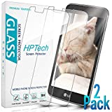 HPTech LG K7 Screen Protector - (2-Pack) Tempered Glass Screen Protector for LG K7 / LG Tribute 5 Bubble Free 9H Hardness with Lifetime Replacement Warranty