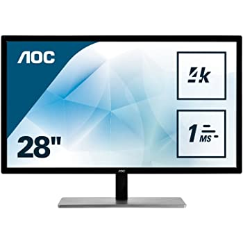 "AOC U2879VF 28""Class LED 4K Monitor 3840x2160, 300cd/m2, 10Bit Color, FreeSync, VGA, DVI, HDMI, DP"
