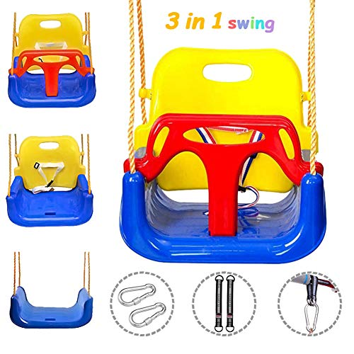 onegoodcar 3 in 1 Kids Swing Seat, Toddler Infants to Teens High Back Full Bucket Swing Seat Detachable Safety Hanging Basket Swing Seat for Playground Indoor Outdoor