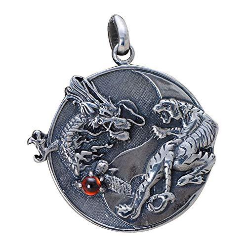 FORFOX Herren Damen Schwarz 925 Sterling Silber Yin Yang Drache Tiger Tag Halskette Anhänger