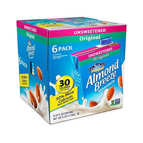 Almond Breeze Dairy Free Almondmilk, Unsweetened Original, 32 Ounce, 6 Count