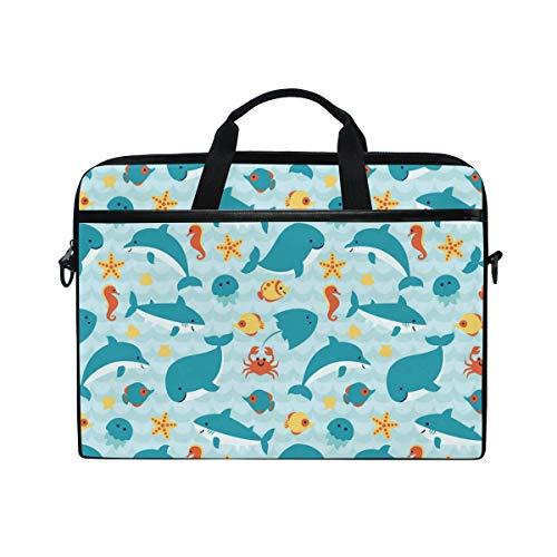 Slim Laptop Shoulder Bag Compatible Fits for 15-15.4 Inch Tablet Shark Vs Whale Art Durable Laptop Briefcase Business Office Bag Notebook Messenger Bag for Travel