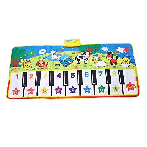 Zerodis Musikalische Klaviermatte Boden Interaktive Musikmatte Spielzeug Weiche Baby Früherziehung Tastatur Teppich Tier Decke Sichere Elektronische Kinder Musikalische Decke Bunte Tanzmatte