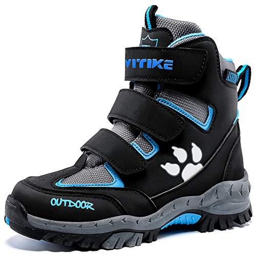 Kinder Winterschuhe Wanderschuhe Mid Schneestiefel Mädchen Trekkingl Stiefel Jungen Baumwollschuhe Warm Wanderstiefel (A Schwarz Blau,34 EU)