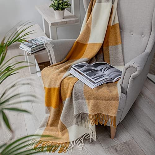 Linen und Cotton Luxus Stilvolle Decke, Tagesdecke, Wolldecke Devon - 100prozent Neuseeland-Wolle (140 x 200cm, Senfgelb)