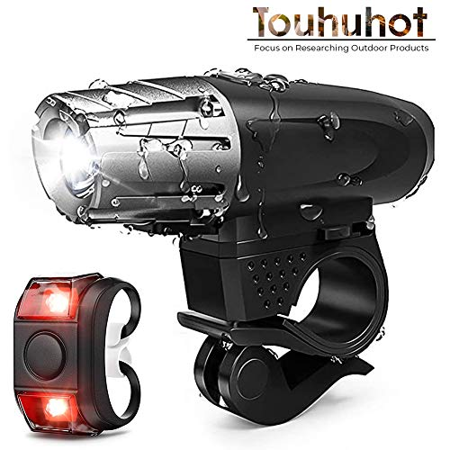 Touhuhot Bike Bicycle Light Set USB Rechargeable&Limited Free Tail Light&Super Long Remaining Battery for Mountain, Road Bike, Street, Front & Back Illumination, Waterproof&Impact Resistant