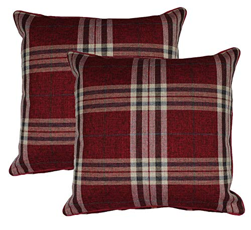 BEDWAY Tartan Red 18 x 18 Inch Check & Stripe Woven Filled Cushions 45 x 45cm - Pack of 2