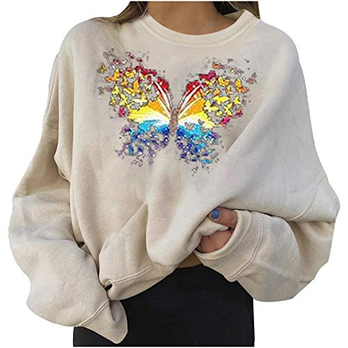 Pullover Tops for Women Merry Christmas Printed Crewneck Long Sleeve Casual Blouse Sweatshirts Sweater Tunics