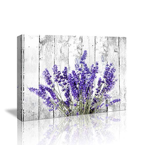 Bedroom Wall Decor Modern Artwork Purple Lavender Canvas Wall Art Paintings 12'x16'Style Lavender Flowers Picture on White Vintage Wood Background Rural for Living Room Bedroom Bathroom Decoration