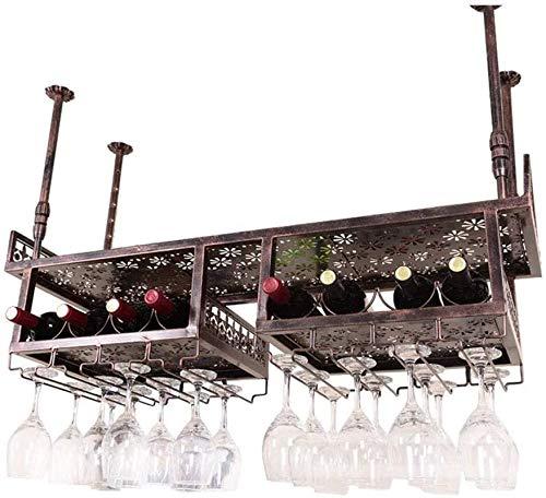 Estantería de vino Comedor Montado en el techo Colgante de la botella de vino Metal, estante de almacenamiento de techo ajustable, estante de almacenamiento, aplicación de decoración de estilo vintage