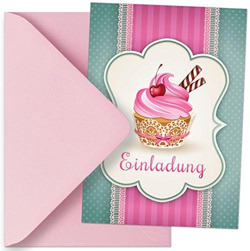 Einladungskarten mit Motiv Muffins / Cupcakes. Einladungen passen zum Geburtstag / Kindergeburtstag / Party / Kochparty / Backparty (Mit passenden Umschlägen)
