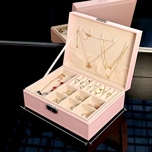 Sksngf Schmuck-Box, Haushalt Double-Layer-Schmuck Aufbewahrungsbehälter, Großraum-Kategorisiert Aufbewahrungsbehälter, mit Schloss, rosa Prinzessin Wind Velvet Stoff, Leder-Material
