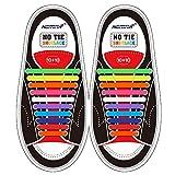 Homar No Tie Lacci per scarpe per bambini e adulti - Impermeabile in silicone elastico piatto Laces Athletic scarpa da corsa con multicolore per Scarpe Sneakerboots bordo e scarpe casual (Adult Size Mix Color)