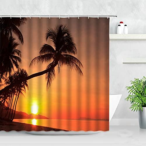 JEIBGW Tenda della docciaDusk Sunset Beach Shower Curtains Tropical Ocean Palm Tree Scenery Printed Home Decor Waterproof Fabric Bathroom Curtain Set