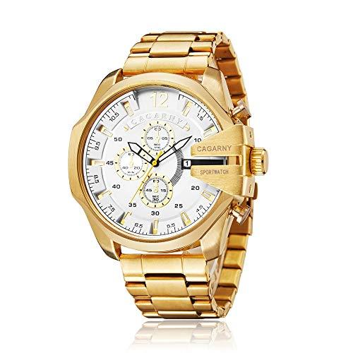 SJXIN schöne und stilvolle Uhr, CAGARNY Business Herren Quarz Uhr Stahlgürtel Uhr Herren Mode Uhren (Color : White)