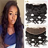Moresoo 14 Pulgadas Body Wave 13 * 4 Parte Libre Ear to Ear Full Swiss Lace Frontal Bleach Knots with Baby Hair Unprocessed Brazilian Virgin Cabello Humano Negro #1B