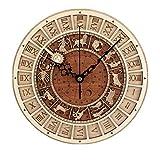 W.zz Reloj De Pared Retro De Madera Reloj Silencioso No Tick Tack Venecia Astronomía Decoración De Pared Diseño Moderno Adecuado para Sala De Estar Dormitorio Oficina Hotel,36cm