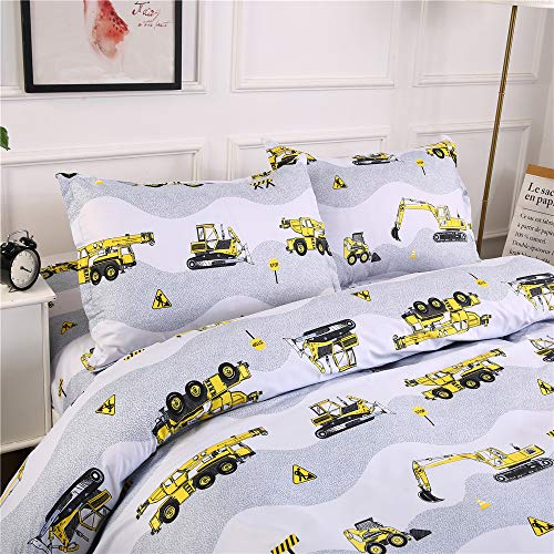 AShanlan Biancheria da letto per bambini, 135 x 200 cm, motivo escavatore, cantiere e camionisti, 100% microfibra, bianco, grigio, copripiumino con federa 80 x 80 cm