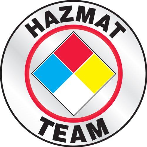 Accuform Signs LHTL646 Emergency Response Reflective Helmet Sticker, Legend'Hazmat Team' with Graphic, 2-1/4' Diameter, Red/Yellow/Blue/Black on White