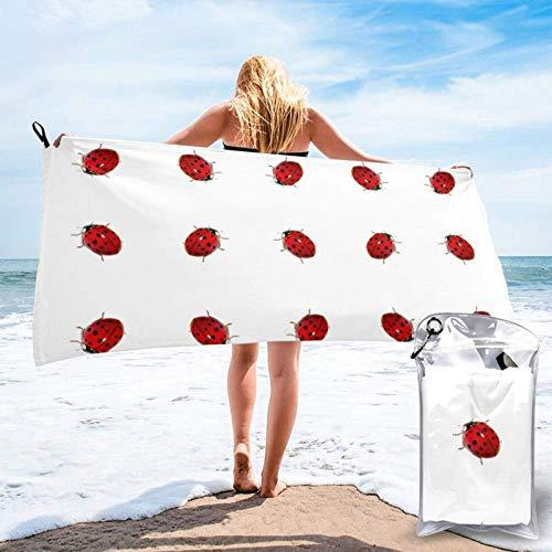 Unique Life Toalla de baño de Ladybird, toalla de gimnasio, toalla de playa, microfibra suave de secado rápido, ligera