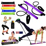FITWELLBE Pilates Bar Kit with Resistance Band, Yoga Pilates Bar Kit Portable Pilates Stick Muscle Toning Bar with Foot Loop, Home Gym Pilates Yoga Exercise Bar, Total Body Workout, Pilates Gym Stick