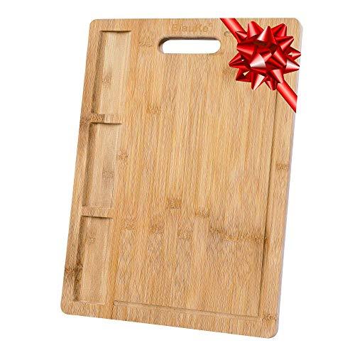 Tabla de Cortar Cocina en Madera de Bambú (Grande 43x32cm) – Tabla Cortar y Servir Pan Carne Embutidos Quesos Verduras – Tabla de Madera Ecológica Natural con Ranura de Jugo y Compartimentos Integrado