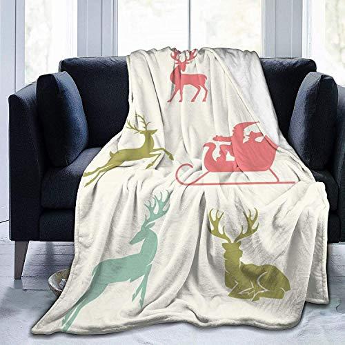 Manta de Tiro Ciervo de Navidad Manta de Microfibra Ultra Suave Manta de Cama súper Suave y acogedora para Cama Sofá Sofá Sala de Estar Picnic en la p