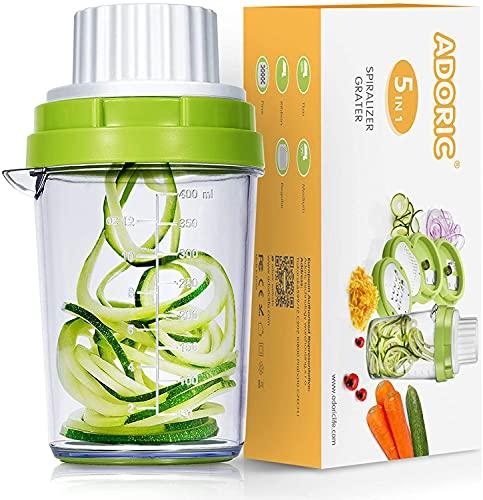 5 en 1 Espiralizador de Verduras Manual Con Caja de Conservación Fresca Espaguetis Calabacin Maquina Rallador Adecuado Para Zanahorias Pepinos Patatas Rayador De Verduras