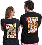 King/Queen | Matching Couples Husband Wife Bridal Wedding Newlywed T-Shirts-(Queen,M)