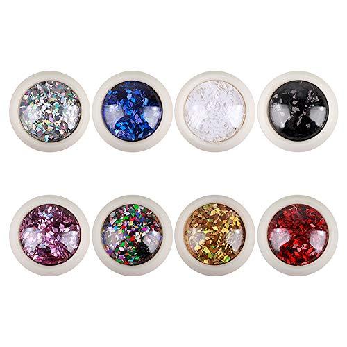 8 cajas de lentejuelas en forma de diamante 3D colores mezclados escamas chispas arte del clavo lentejuelas arte del clavo caja individual embalaje