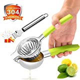 Lemon Squeezer with Scraper, Goodking 304 Stainless Steel Lime Squeezer, Lime Orange Manual Juicer Hand Fruit Juice Press Cocktail Lemonade Squeezer with 3.3inch Large bowl, Heavy Duty Citrus Squeezer