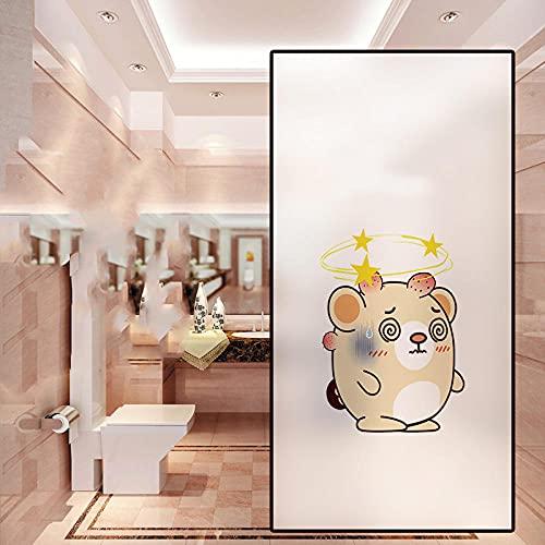 Vinilo para Ventana Privacidad Lámina Adhesiva Pegatina Translúcida Adhesiva Decorativa del Vidrio Autoadhesiva Esmerilado Control de Calor y Anti UV(Oso Estrella,44.5*200CM)