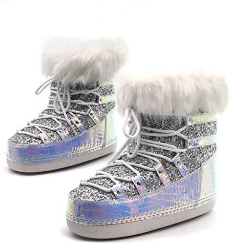 Cape Robbin Polar Warm Winterstiefel für Damen Mädchen Schnürstiefel Kunstfell Mond Stiefel Damen Winterstiefel, Weiá (Holografisch), 42 EU