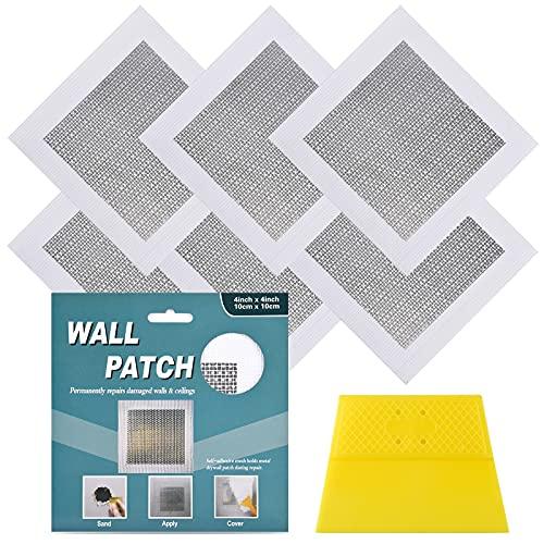 6 Pack 4 Inch Drywall Repair Kit Drywall Patch,Self Adhesive Fiberglass Aluminum Wall Patch Repair Kit,High Strength Drywall Hole Fixing Kit,Small Hole Plaster Wall Repair Patch Kit (4