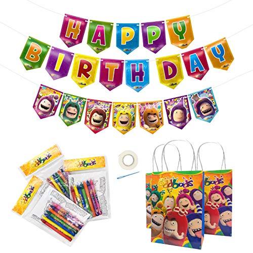 ODDBODS Pancarta de cumpleaños y bolsas de regalo con paquetes para colorear – 21 piezas