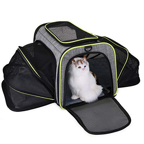 Trasportino per animali domestici approvato dalla compagnia aerea, espandibile e pieghevole, grande borsa da viaggio per animali domestici con imbottitura rimovibile in pile