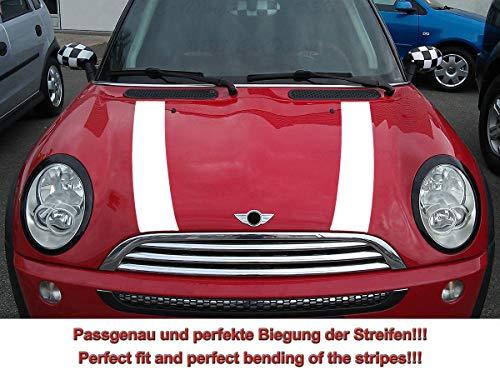 SB CarDesign Strisce Strisce Adesivo Cofano per R50 R52 Mini Cooper - Bianco, Design 1