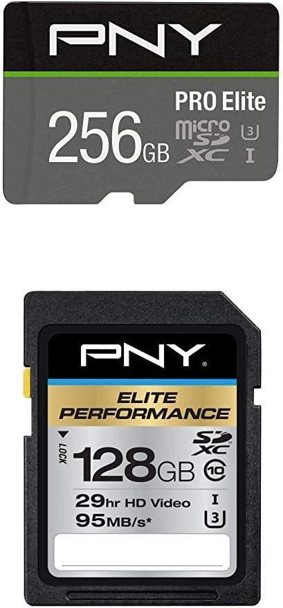 PNY U3 Pro Elite MicroSDXC Card - 256GB with P-SDX128U395-GE Elite Performance 128 GB High Speed SDXC Class 10 UHS-I