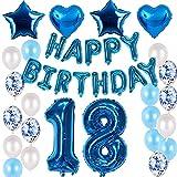 Juego de decoración de cumpleaños para niños de 18 años, color azul, juego de decoración para 18 años, globos azules para niños, guirnalda de Happy Birthday y globos con el número 18, color azul