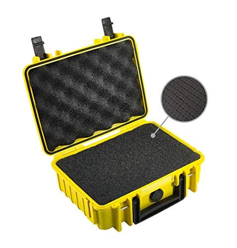 B&W Outdoor Case Hartschalenkoffer Typ 1000 mit Schaumstoff (Hardcase Koffer IP67, SI Würfelschaum, wasserdicht, Innenmaß 25x17,5x9,5cm, Gelb)
