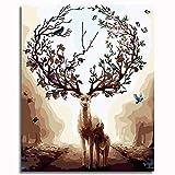 OKJK DIY Peinture par Numéros PigmentCanvas Kit de Peinture avec Brosses et Pigment Acrylique pour Adultes Enfants Débutant-Fantasy Forest Deer 40x50cm