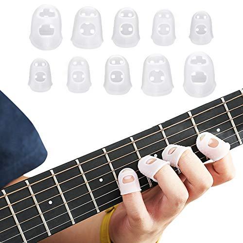 LAMEK 50Pcs Protezioni per le dita in Silicone per Chitarra per le dita Antiscivolo Strumenti Cappucci per le Punte delle dita Copri per le punte delle dita per Principianti
