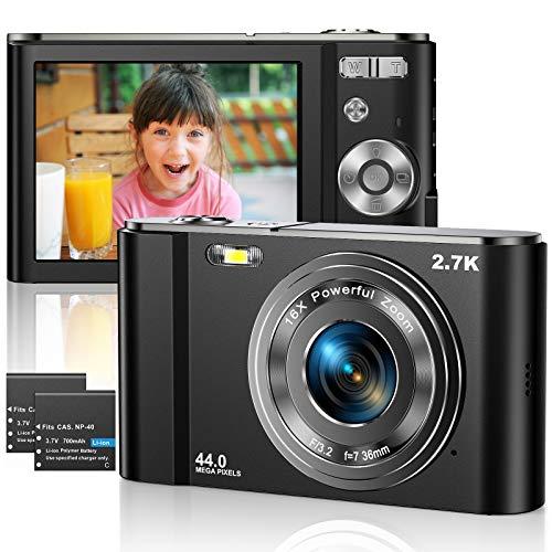 Vnieetsr Digitalkamera 2,7K Ultra HD Mini-Videokamera 44MP 2,8 \'\' LCD Wiederaufladbare Fotokamera mit 16X Digitalzoom-Kamera für Studenten/Kinder/Erwachsene/Anfänger